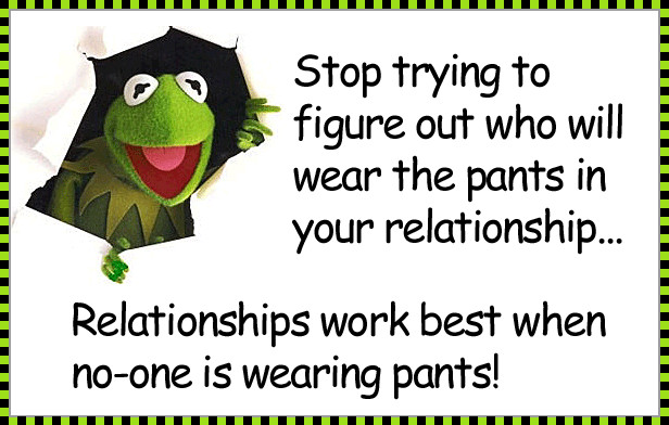 who wears the trousers in relationship joke picture