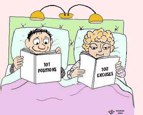Man reading about sexual positions, wife reading about excuses, a funny cartoon