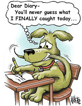 Cartoon of a dog that finally caught his tail