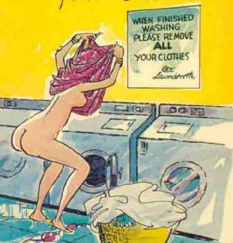 Sign in Laundromat says... Remove clothes when done, so a blonde does.