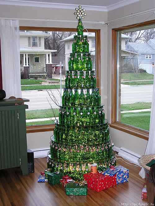 Christmas tree made of green beer bottles
