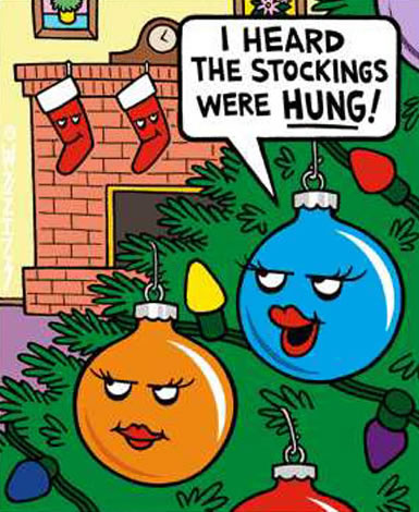 Christmas balls say they heard the stockings were HUNG