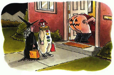 Home owner moons trick or treeters