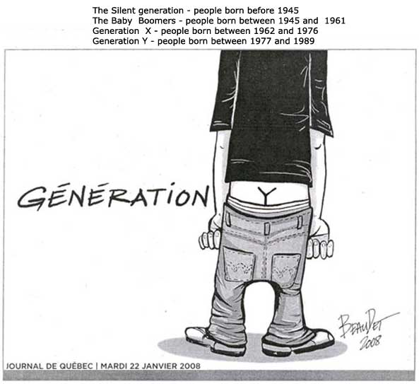 Y Generation pants are so low you can see the crack that looks like a Y