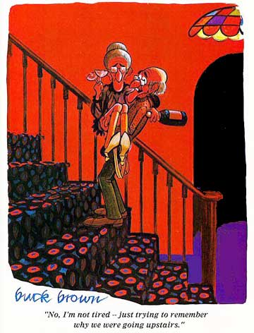 Old lovers going up staircase to bed