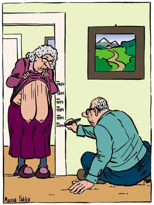 Old woman's huband measures time with her sagging breasts