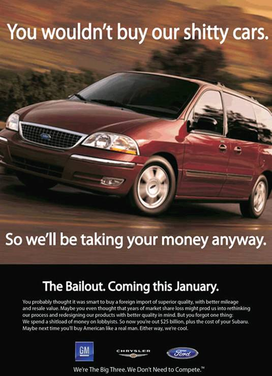 Pretty poster of a car and message: You wouldn't buy our shitty cars. So we'll be taking your money anyway.