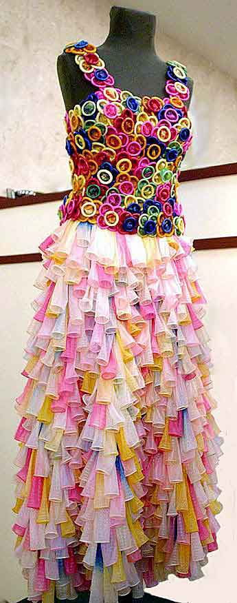 beautiful dress made out of colored condoms