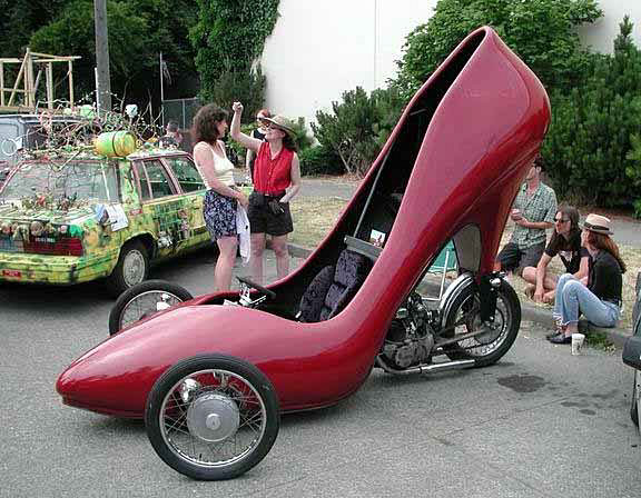 motorcycle made from large red high heel