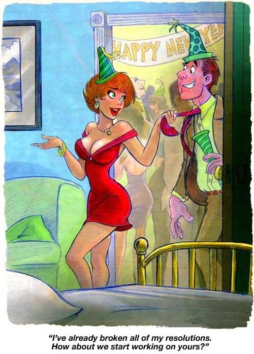 New Year's Cartoons, Risque Cartoons, toilet humor